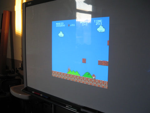 mario on the projector